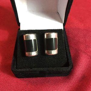 Sterling silver 925 & black onyx pierced earrings